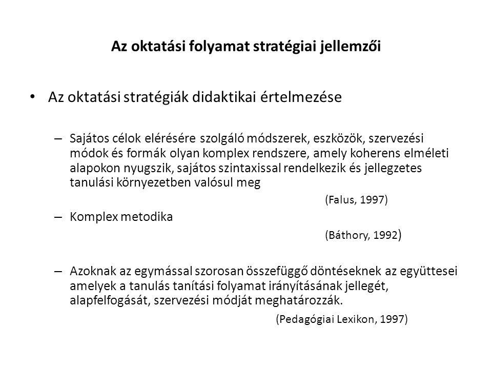 Az oktatási folyamat stratégiai jellemzői Az oktatási stratégiák didaktikai értelmezése – Sajátos célok elérésére szolgáló módszerek, eszközök, szervezési módok és formák olyan komplex rendszere, amely koherens elméleti alapokon nyugszik, sajátos szintaxissal rendelkezik és jellegzetes tanulási környezetben valósul meg (Falus, 1997) – Komplex metodika (Báthory, 1992 ) – Azoknak az egymással szorosan összefüggő döntéseknek az együttesei amelyek a tanulás tanítási folyamat irányításának jellegét, alapfelfogását, szervezési módját meghatározzák.