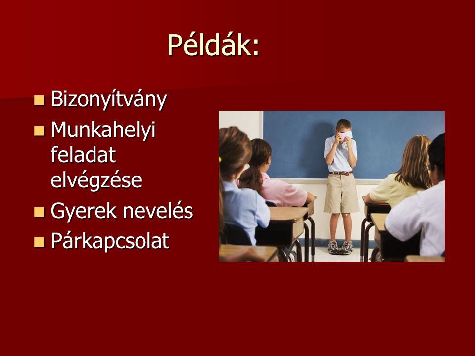 Példák: Bizonyítvány Bizonyítvány Munkahelyi feladat elvégzése Munkahelyi feladat elvégzése Gyerek nevelés Gyerek nevelés Párkapcsolat Párkapcsolat