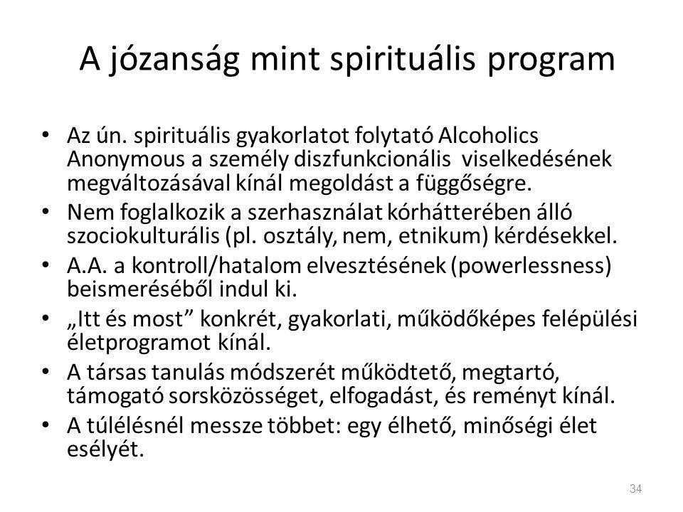 A józanság mint spirituális program Az ún.