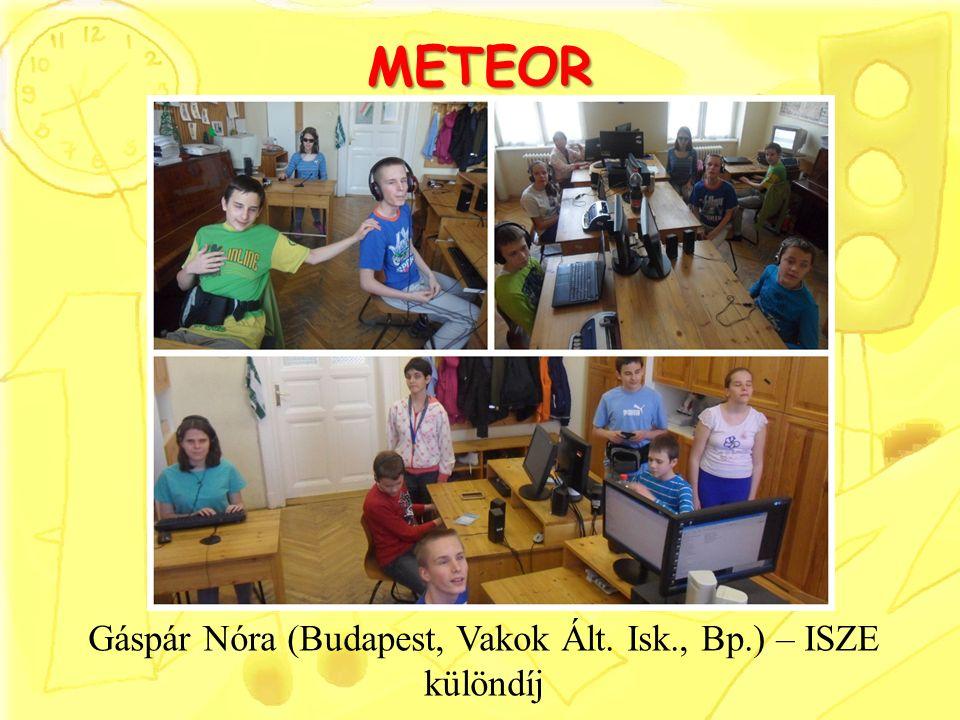METEOR Gáspár Nóra (Budapest, Vakok Ált. Isk., Bp.) – ISZE különdíj