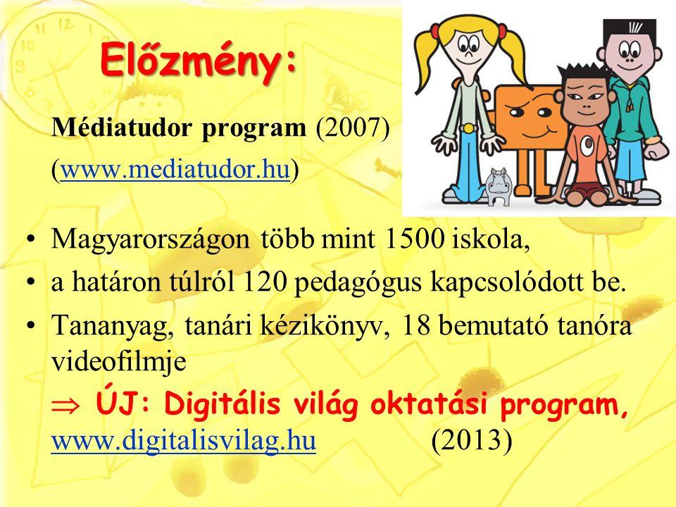 Előzmény: Médiatudor program (2007) (www.mediatudor.hu)www.mediatudor.hu Magyarországon több mint 1500 iskola, a határon túlról 120 pedagógus kapcsolódott be.