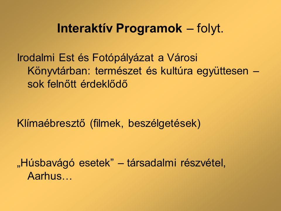 Interaktív Programok – folyt.