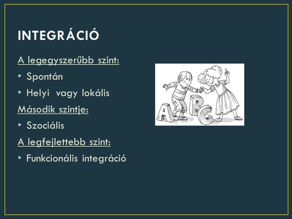 A legegyszerűbb szint: Spontán Helyi vagy lokális Második szintje: Szociális A legfejlettebb szint: Funkcionális integráció