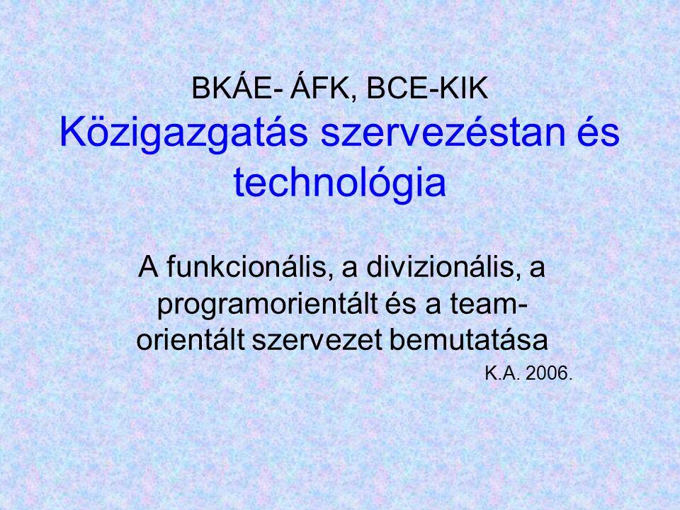 BKÁE- ÁFK, BCE-KIK Közigazgatás szervezéstan és technológia A funkcionális, a divizionális, a programorientált és a team- orientált szervezet bemutatása K.A.