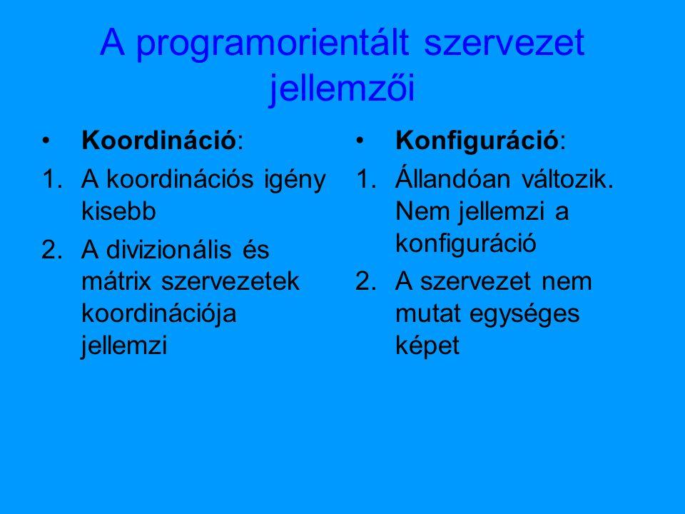 A programorientált szervezet jellemzői Koordináció: 1.A koordinációs igény kisebb 2.A divizionális és mátrix szervezetek koordinációja jellemzi Konfiguráció: 1.Állandóan változik.