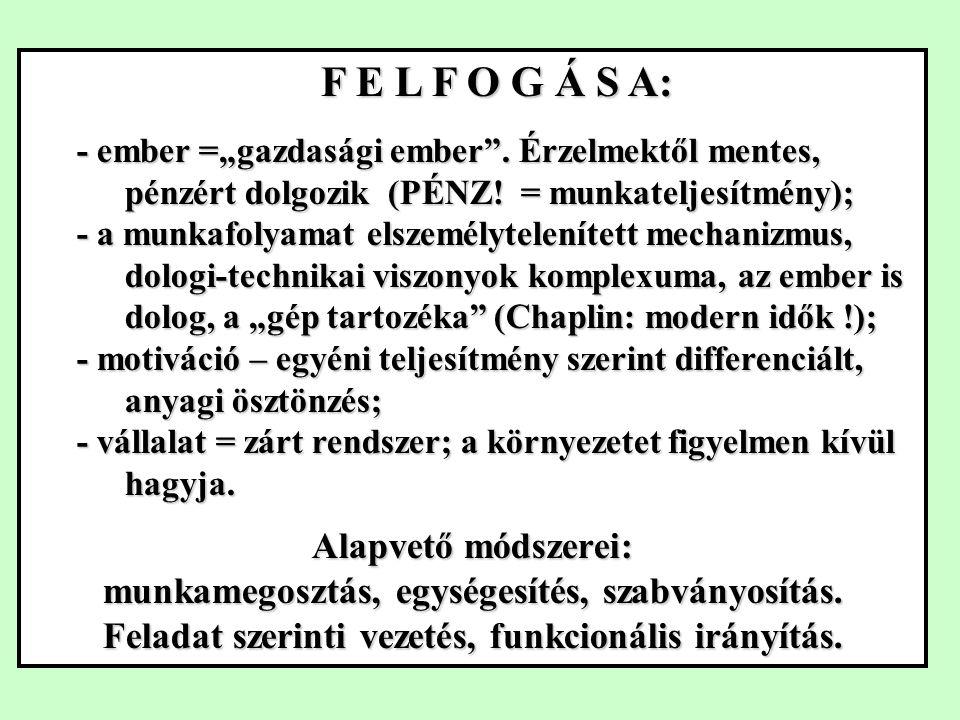 """F E L F O G Á S A: - ember =""""gazdasági ember .Érzelmektől mentes, pénzért dolgozik (PÉNZ."""