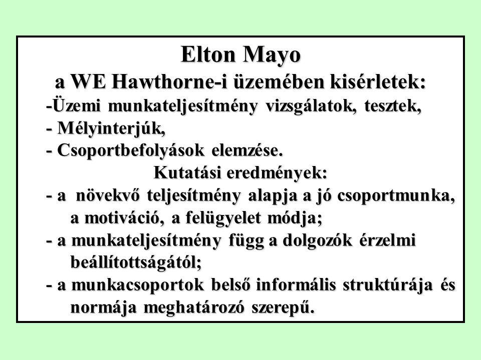 Elton Mayo a WE Hawthorne-i üzemében kisérletek: -Üzemi munkateljesítmény vizsgálatok, tesztek, - Mélyinterjúk, - Csoportbefolyások elemzése.
