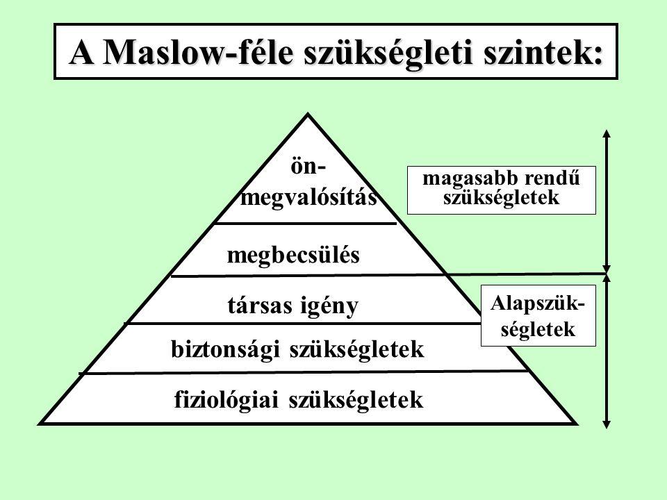ön- megvalósítás megbecsülés társas igény biztonsági szükségletek fiziológiai szükségletek magasabb rendű szükségletek Alapszük- ségletek A Maslow-féle szükségleti szintek: