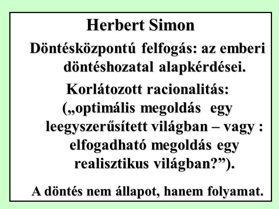 Herbert Simon Döntésközpontú felfogás: az emberi döntéshozatal alapkérdései.