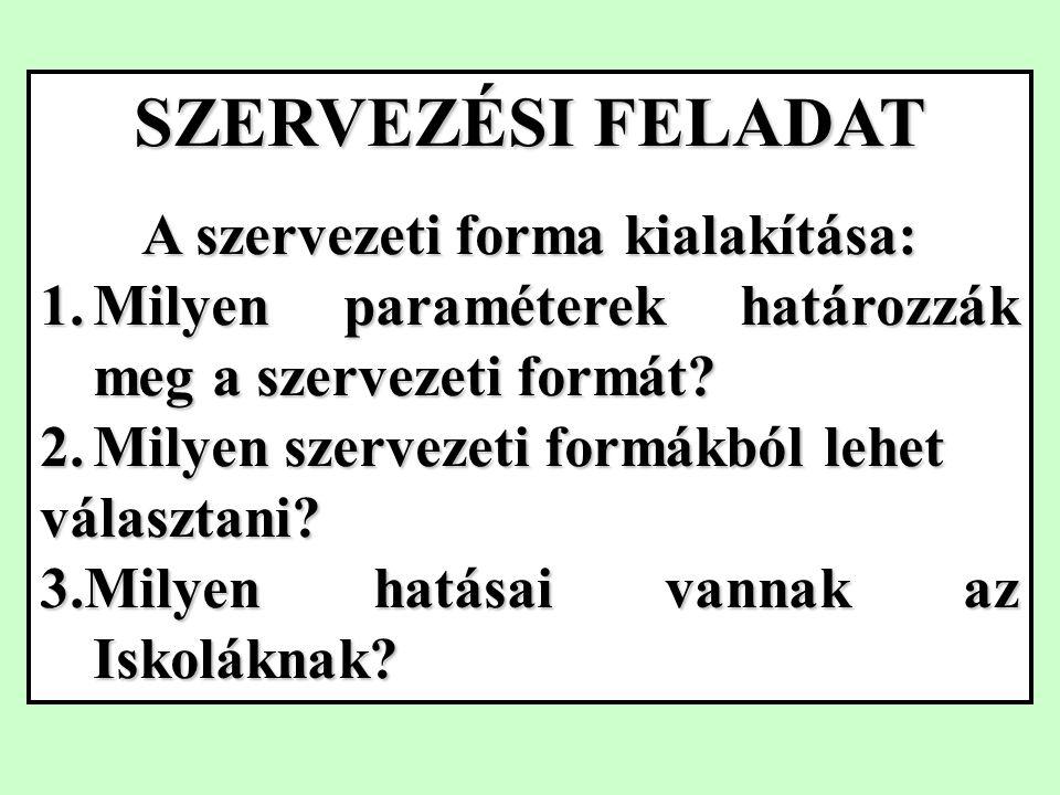 SZERVEZÉSI FELADAT A szervezeti forma kialakítása: 1.Milyen paraméterek határozzák meg a szervezeti formát.