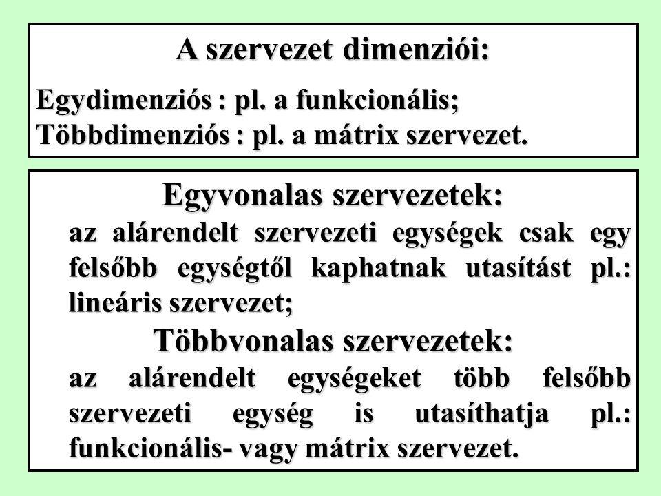 A szervezet dimenziói: Egydimenziós : pl.a funkcionális; Többdimenziós : pl.