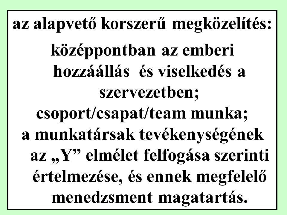 Herzberg kéttényezős elmélete: Higiénés tényezők: -személyes kapcsolatok -munkakörülmények - a munkahely biztonsága -fizetés elégedetlenség MUNKA- FELTÉTELEK Motivációs tényezők: -felelősség vállalás -a nagyobb teljesítmény -a fejlődés -a karrierépítés lehetősége elégedettség A MUNKA TARTALMA