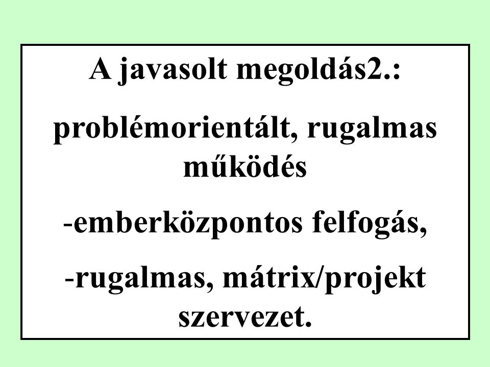 A javasolt megoldás2.: problémorientált, rugalmas működés -emberközpontos felfogás, -rugalmas, mátrix/projekt szervezet.