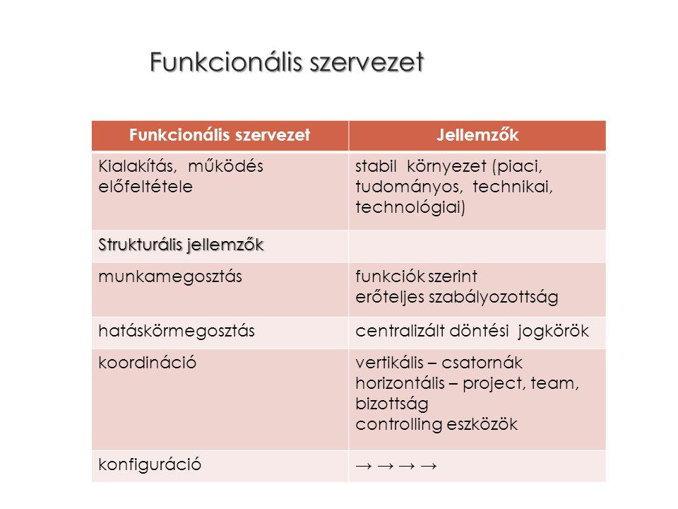 Funkcionális szervezet Jellemzők Kialakítás, működés előfeltétele stabil környezet (piaci, tudományos, technikai, technológiai) Strukturális jellemzők munkamegosztásfunkciók szerint erőteljes szabályozottság hatáskörmegosztáscentralizált döntési jogkörök koordinációvertikális – csatornák horizontális – project, team, bizottság controlling eszközök konfiguráció→ →