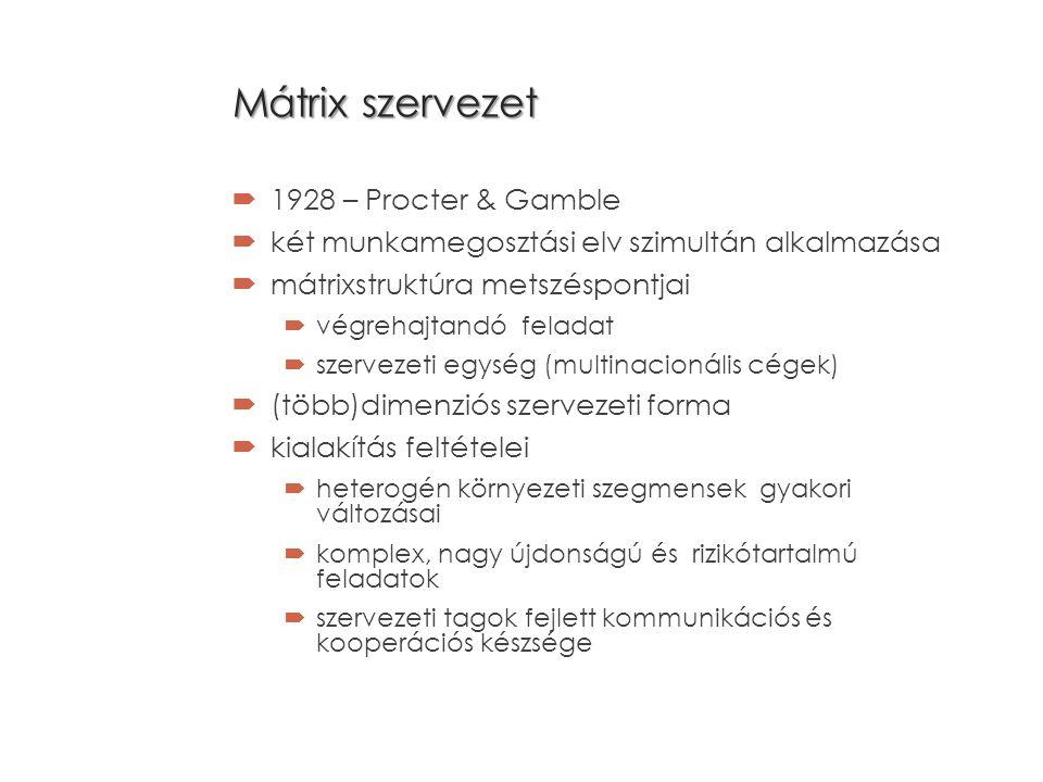 Mátrix szervezet  1928 – Procter & Gamble  két munkamegosztási elv szimultán alkalmazása  mátrixstruktúra metszéspontjai  végrehajtandó feladat  szervezeti egység (multinacionális cégek)  (több)dimenziós szervezeti forma  kialakítás feltételei  heterogén környezeti szegmensek gyakori változásai  komplex, nagy újdonságú és rizikótartalmú feladatok  szervezeti tagok fejlett kommunikációs és kooperációs készsége