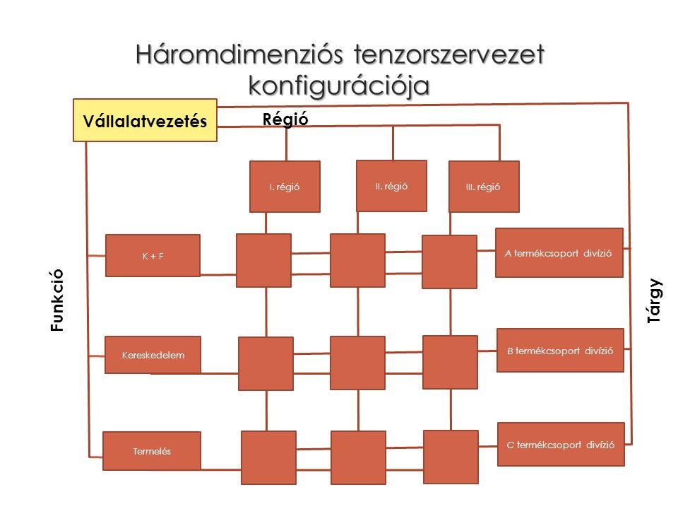 Háromdimenziós tenzorszervezet konfigurációja Kereskedelem I. régió K + F Vállalatvezetés A termékcsoport divízió B termékcsoport divízió C termékcsop