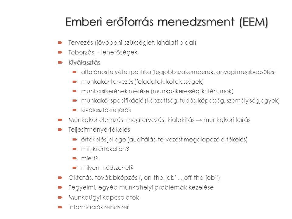 Emberi erőforrás menedzsment (EEM)  Tervezés (jövőbeni szükséglet, kínálati oldal)  Toborzás - lehetőségek  Kiválasztás  általános felvételi politika (legjobb szakemberek, anyagi megbecsülés)  munkakör tervezés (feladatok, kötelességek)  munka sikerének mérése (munkasikerességi kritériumok)  munkakör specifikáció (képzettség, tudás, képesség, személyiségjegyek)  kiválasztási eljárás  Munkakör elemzés, megtervezés, kialakítás → munkaköri leírás  Teljesítményértékelés  értékelés jellege (auditálás, tervezést megalapozó értékelés)  mit, ki értékeljen.