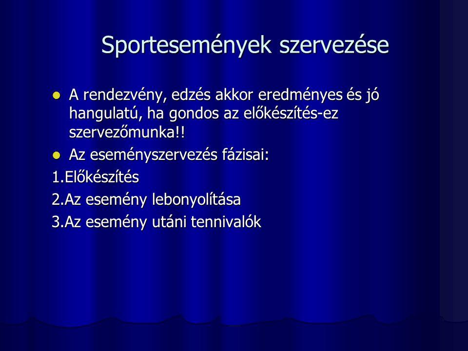 Sportesemények szervezése A rendezvény, edzés akkor eredményes és jó hangulatú, ha gondos az előkészítés-ez szervezőmunka!! A rendezvény, edzés akkor