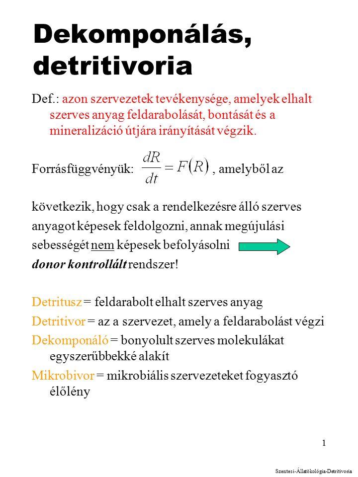 1 Dekomponálás, detritivoria Def.: azon szervezetek tevékenysége, amelyek elhalt szerves anyag feldarabolását, bontását és a mineralizáció útjára irányítását végzik.