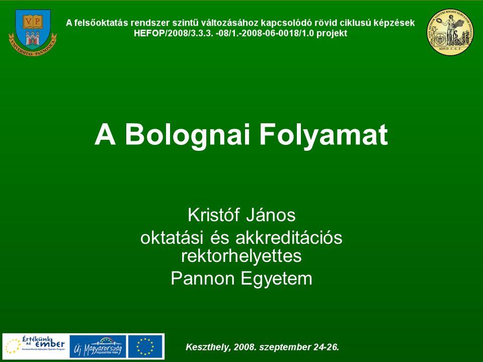A Bolognai Folyamat Kristóf János oktatási és akkreditációs rektorhelyettes Pannon Egyetem