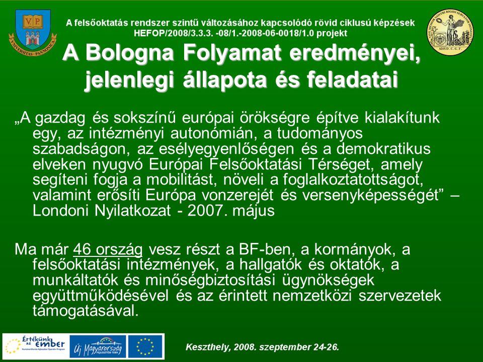 """A Bologna Folyamat eredményei, jelenlegi állapota és feladatai """"A gazdag és sokszínű európai örökségre építve kialakítunk egy, az intézményi autonómián, a tudományos szabadságon, az esélyegyenlőségen és a demokratikus elveken nyugvó Európai Felsőoktatási Térséget, amely segíteni fogja a mobilitást, növeli a foglalkoztatottságot, valamint erősíti Európa vonzerejét és versenyképességét – Londoni Nyilatkozat - 2007."""