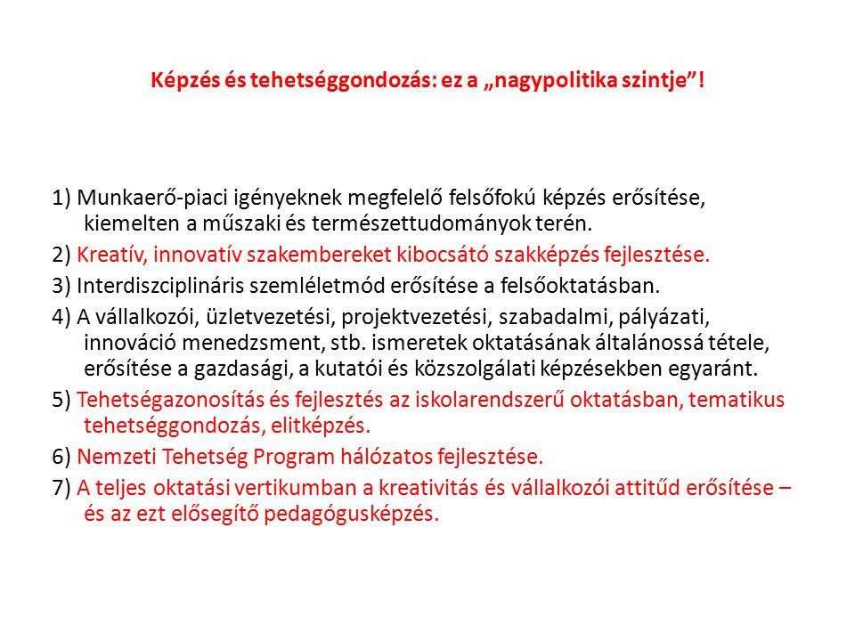 EGY TÉRSÉGI TEHETSÉGFEJLESZTÉSI HÁLÓZATI PROGRAM Pedagógiai Szakmai és Pedagógiai Szakszolgálat Miskolci Egyetem Debreceni Egyetem Megyében működő TST Iskolán kívüli tehetséggondozó civil szervezetek Egyházi Intézmények Megyei Tehetségsegítő Tanács (társadalmi összefogás) Állami fenntartó Egyházi fenntartó Önkormányzatok Megyében létrejött Tehetség Pontok Pedagógiai Szakszolgálat Tehetségkoordinátor Tankerületek tehetségkoordináló és tanácsadó tevékenysége Tanácsadás, továbbképzés TehetségazonosításTehetséggondozás Tehetséggondozó tankerületi munkaközösségek működtetése tehetségfejlesztő szakértők Óvodák Általános és középiskolák, kollégiumok, felsőoktatás Intézményi és tankerületi tehetséggondozó műhelyek, iskolán kívüli színterek Mentori hálózat Támogató programok Partneri hálózat Monitoring