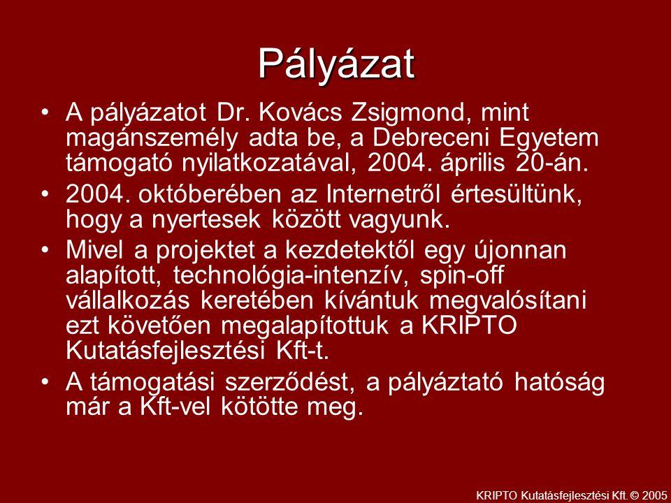 Pályázat A pályázatot Dr.