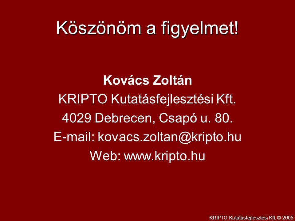 Köszönöm a figyelmet. Kovács Zoltán KRIPTO Kutatásfejlesztési Kft.