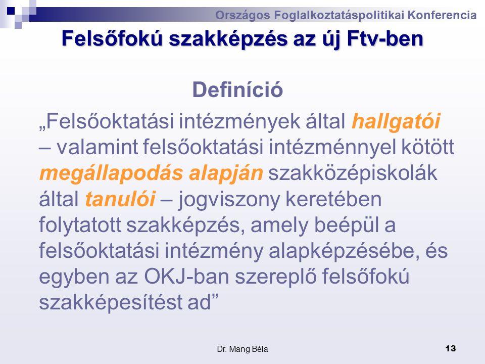 """Dr. Mang Béla13 Országos Foglalkoztatáspolitikai Konferencia Felsőfokú szakképzés az új Ftv-ben Definíció """"Felsőoktatási intézmények által hallgatói –"""