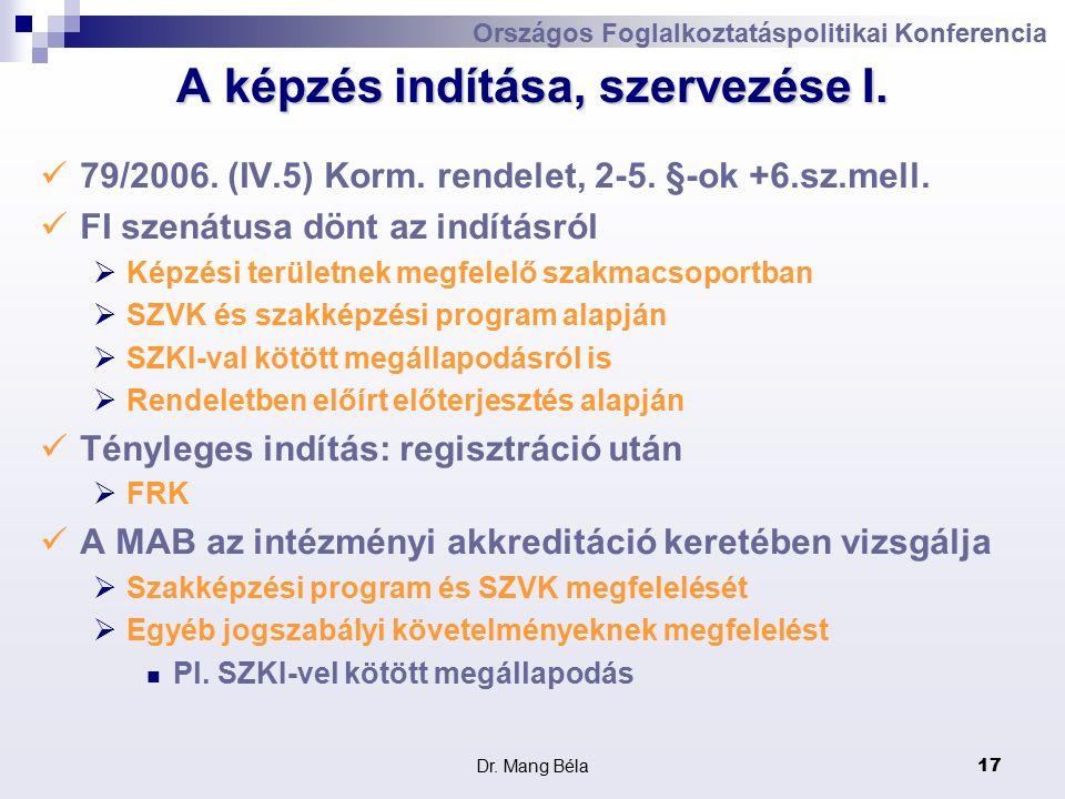 Dr. Mang Béla17 Országos Foglalkoztatáspolitikai Konferencia A képzés indítása, szervezése I.