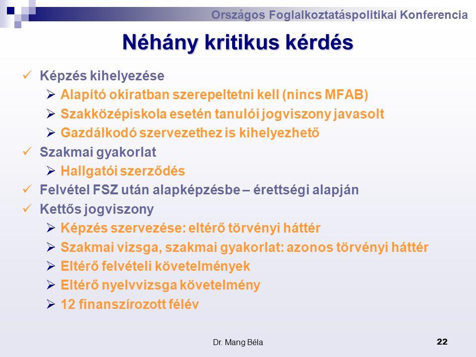 Dr. Mang Béla22 Országos Foglalkoztatáspolitikai Konferencia Néhány kritikus kérdés Képzés kihelyezése  Alapító okiratban szerepeltetni kell (nincs M