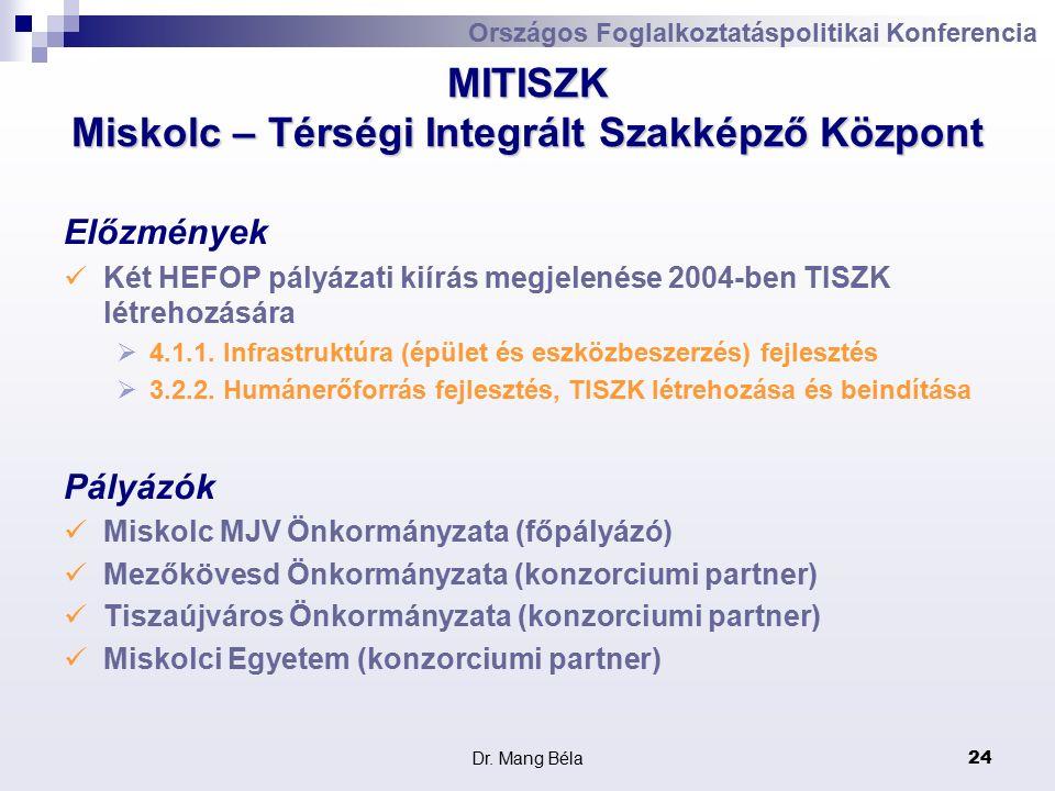 Dr. Mang Béla24 MITISZK Miskolc – Térségi Integrált Szakképző Központ Előzmények Két HEFOP pályázati kiírás megjelenése 2004-ben TISZK létrehozására 