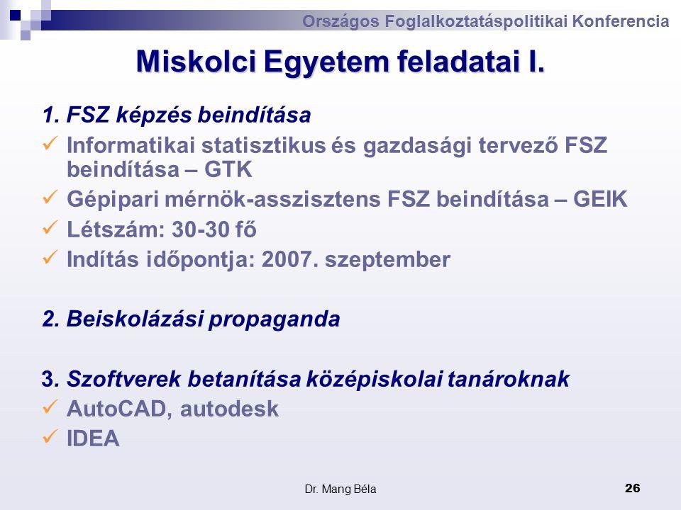Dr. Mang Béla26 Miskolci Egyetem feladatai I. 1.