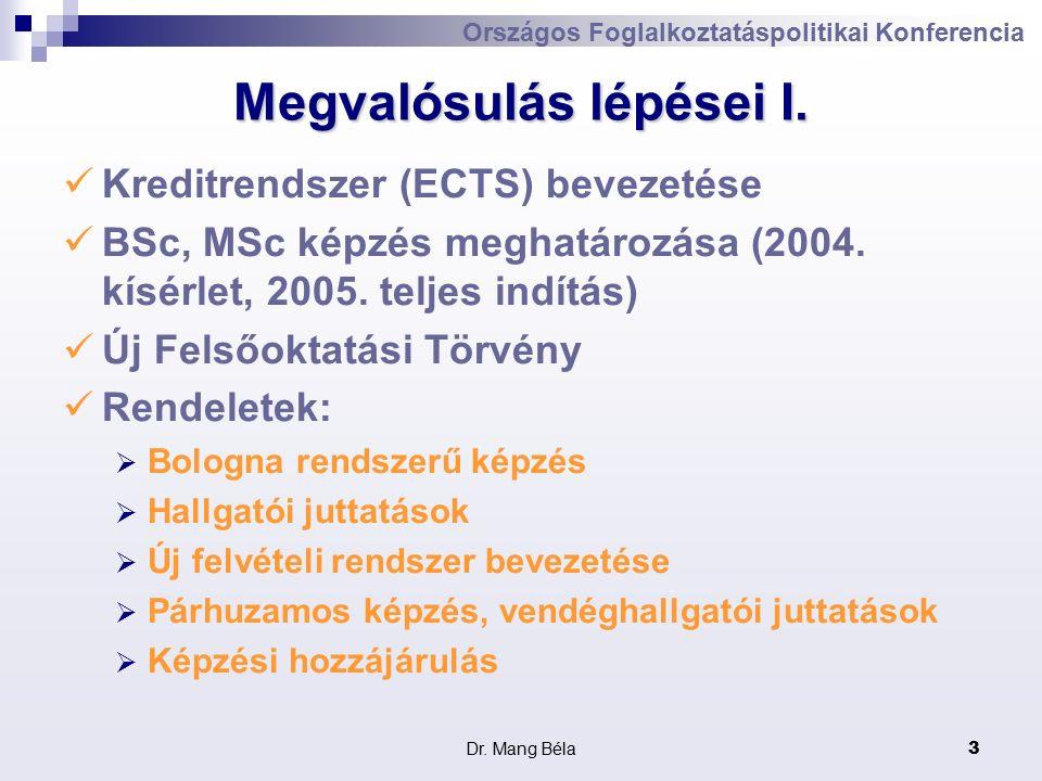 Dr. Mang Béla3 Megvalósulás lépései I.
