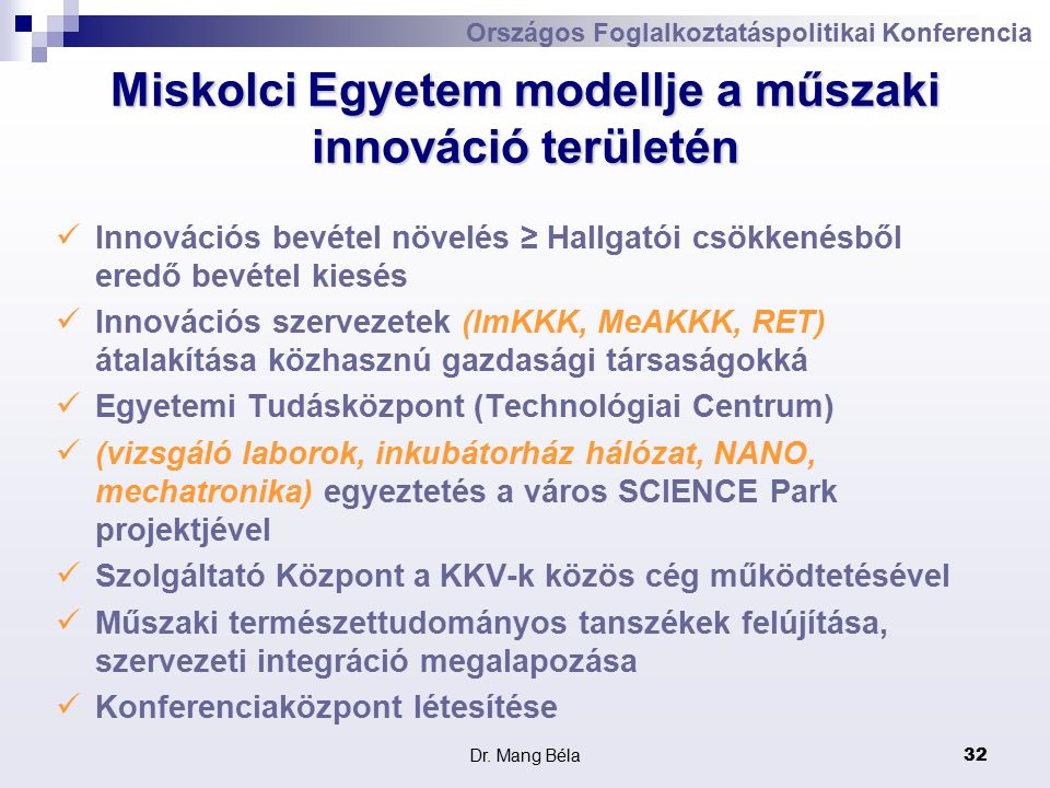 Dr. Mang Béla32 Országos Foglalkoztatáspolitikai Konferencia Miskolci Egyetem modellje a műszaki innováció területén Innovációs bevétel növelés ≥ Hall