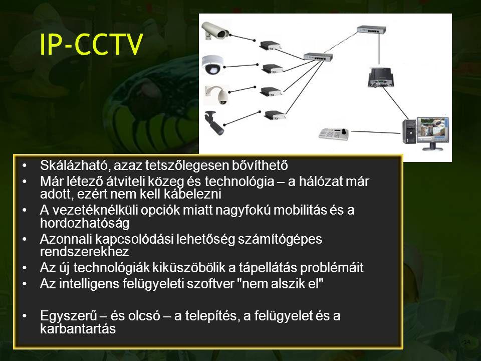 IP-CCTV Skálázható, azaz tetszőlegesen bővíthető Már létező átviteli közeg és technológia – a hálózat már adott, ezért nem kell kábelezni A vezetéknélküli opciók miatt nagyfokú mobilitás és a hordozhatóság Azonnali kapcsolódási lehetőség számítógépes rendszerekhez Az új technológiák kiküszöbölik a tápellátás problémáit Az intelligens felügyeleti szoftver nem alszik el Egyszerű – és olcsó – a telepítés, a felügyelet és a karbantartás 14