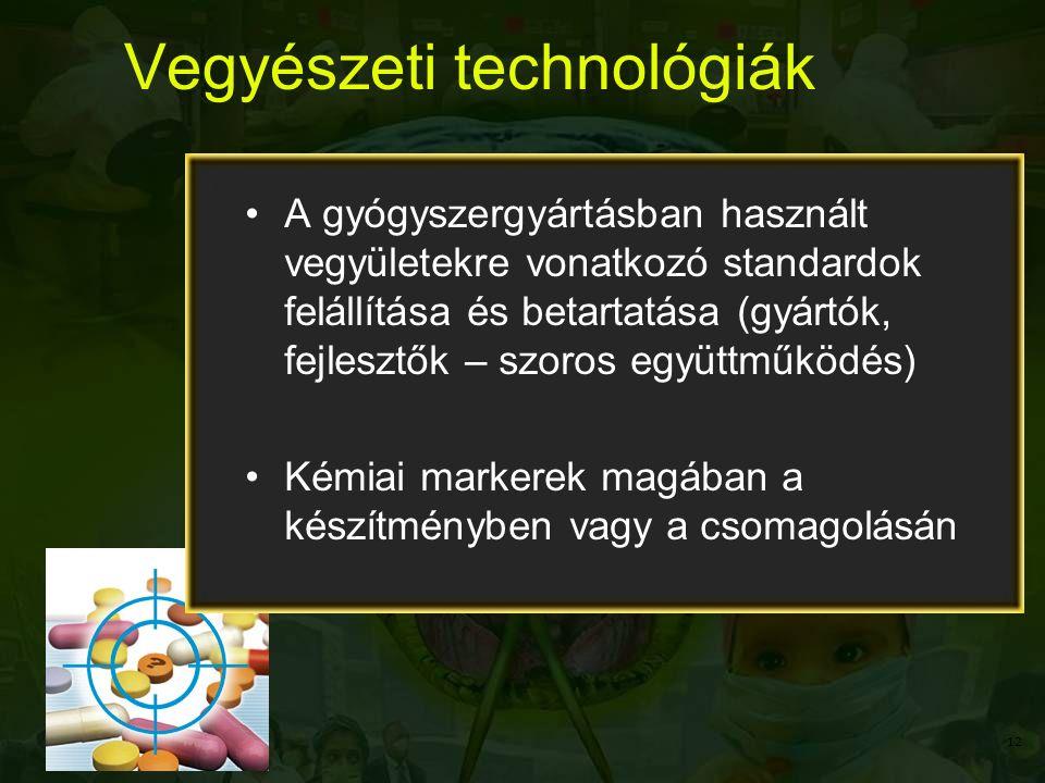 Vegyészeti technológiák A gyógyszergyártásban használt vegyületekre vonatkozó standardok felállítása és betartatása (gyártók, fejlesztők – szoros együttműködés) Kémiai markerek magában a készítményben vagy a csomagolásán 12