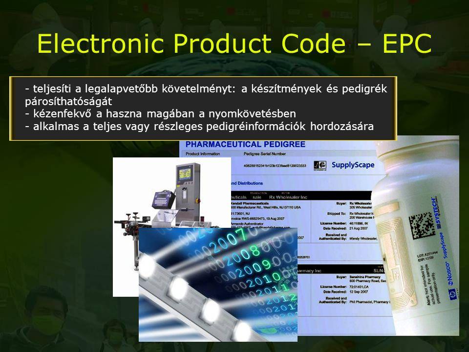 Electronic Product Code – EPC - teljesíti a legalapvetőbb követelményt: a készítmények és pedigrék párosíthatóságát - kézenfekvő a haszna magában a nyomkövetésben - alkalmas a teljes vagy részleges pedigréinformációk hordozására 9