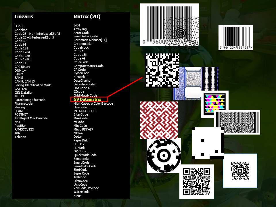 Lineáris U.P.C. Codabar Code 25 – Non-interleaved 2 of 5 Code 25 – Interleaved 2 of 5 Code 39 Code 93 Code 128 Code 128A Code 128B Code 128C Code 11 C
