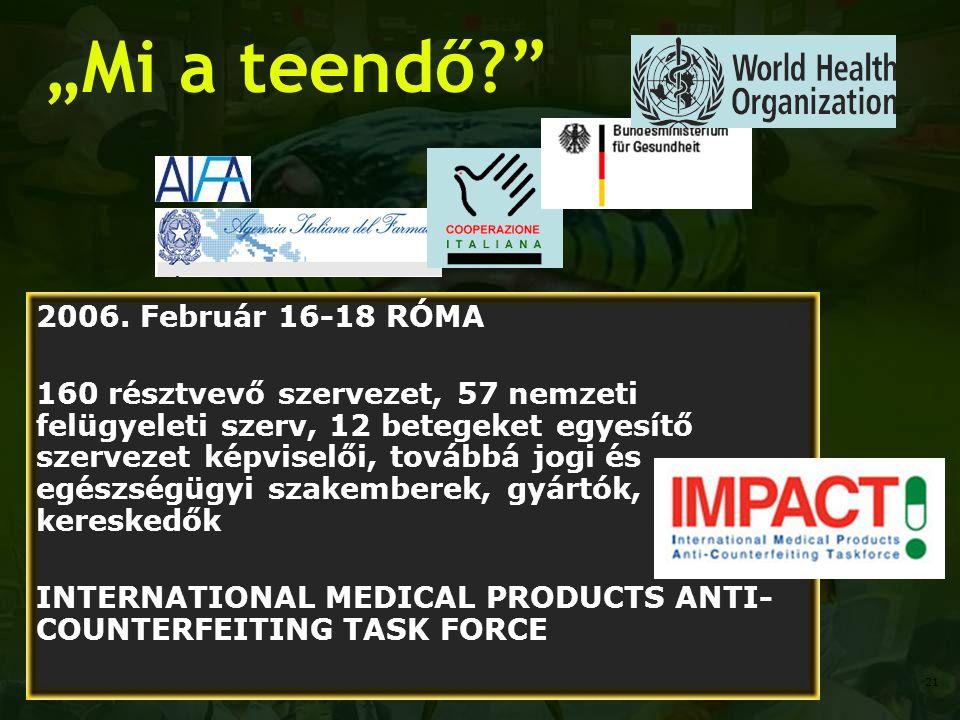 """""""Mi a teendő?"""" 2006. Február 16-18 RÓMA 160 résztvevő szervezet, 57 nemzeti felügyeleti szerv, 12 betegeket egyesítő szervezet képviselői, továbbá jog"""