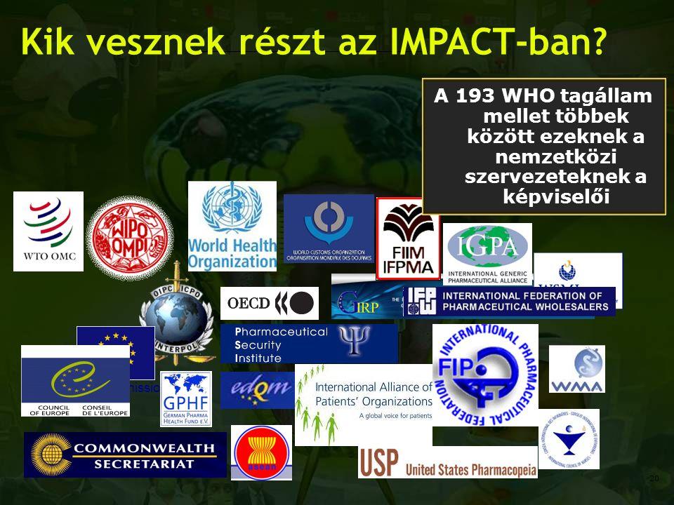 European Commission Kik vesznek részt az IMPACT-ban? A 193 WHO tagállam mellet többek között ezeknek a nemzetközi szervezeteknek a képviselői 20