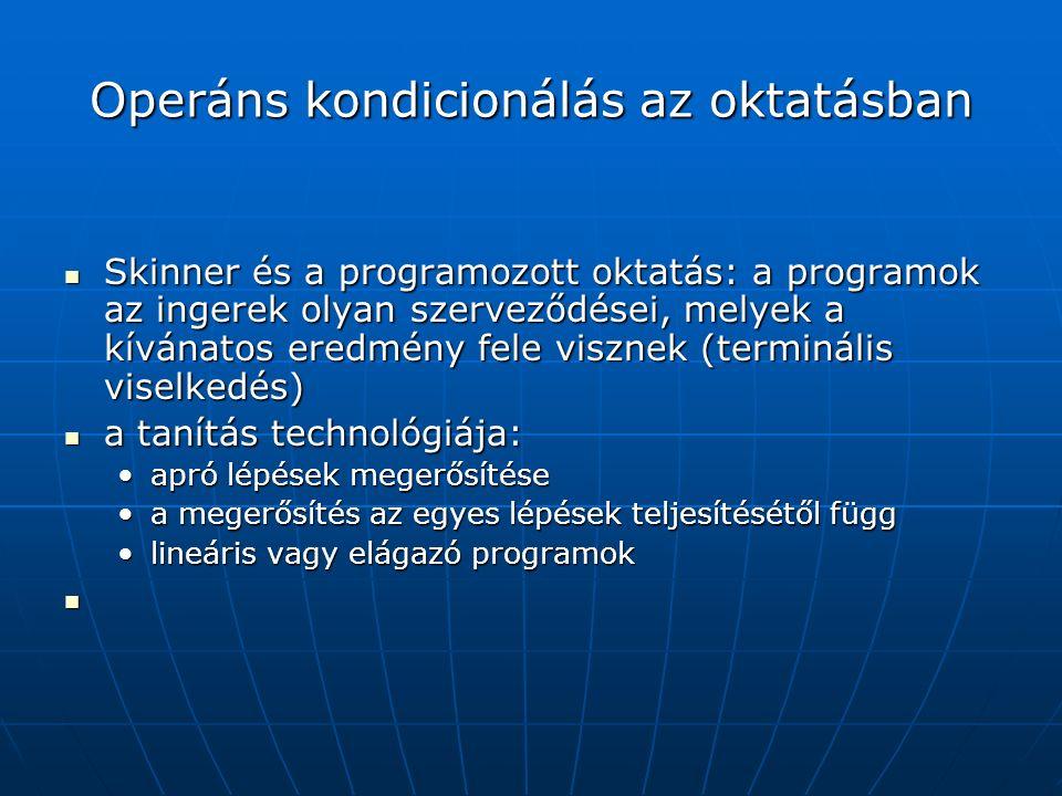 Operáns kondicionálás az oktatásban Skinner és a programozott oktatás: a programok az ingerek olyan szerveződései, melyek a kívánatos eredmény fele visznek (terminális viselkedés) Skinner és a programozott oktatás: a programok az ingerek olyan szerveződései, melyek a kívánatos eredmény fele visznek (terminális viselkedés) a tanítás technológiája: a tanítás technológiája: apró lépések megerősítéseapró lépések megerősítése a megerősítés az egyes lépések teljesítésétől függa megerősítés az egyes lépések teljesítésétől függ lineáris vagy elágazó programoklineáris vagy elágazó programok
