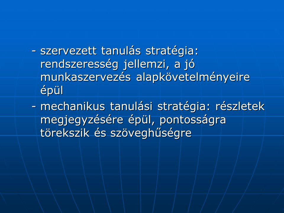 -szervezett tanulás stratégia: rendszeresség jellemzi, a jó munkaszervezés alapkövetelményeire épül -mechanikus tanulási stratégia: részletek megjegyzésére épül, pontosságra törekszik és szöveghűségre