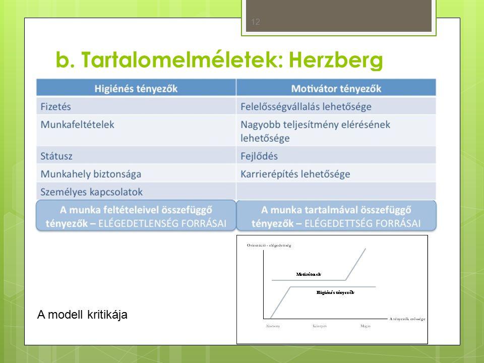 b. Tartalomelméletek: Herzberg 12 A modell kritikája
