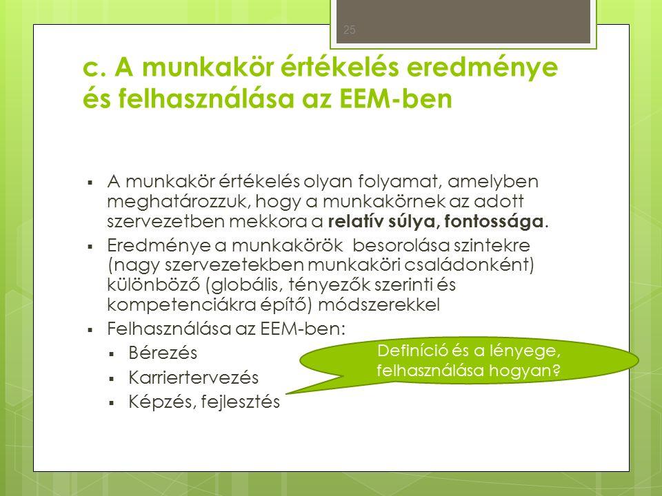 c. A munkakör értékelés eredménye és felhasználása az EEM-ben  A munkakör értékelés olyan folyamat, amelyben meghatározzuk, hogy a munkakörnek az ado