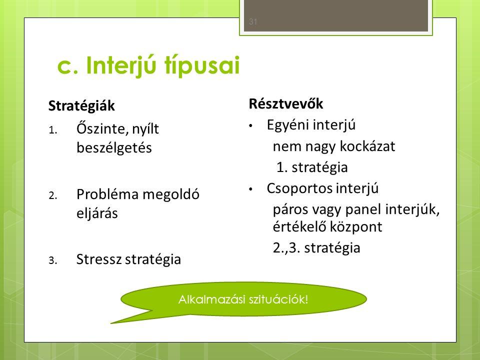 c. Interjú típusai 31 Stratégiák 1. Őszinte, nyílt beszélgetés 2.