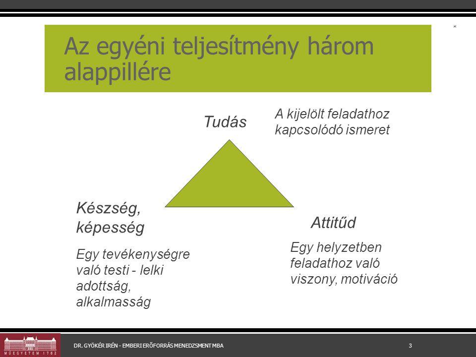 Az egyéni teljesítmény három alappillére Tudás Készség, képesség Attitűd A kijelölt feladathoz kapcsolódó ismeret Egy helyzetben feladathoz való viszony, motiváció Egy tevékenységre való testi - lelki adottság, alkalmasság * DR.