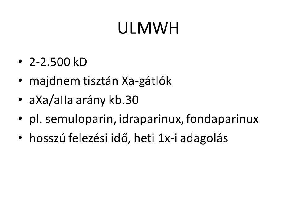 ULMWH 2-2.500 kD majdnem tisztán Xa-gátlók aXa/aIIa arány kb.30 pl.