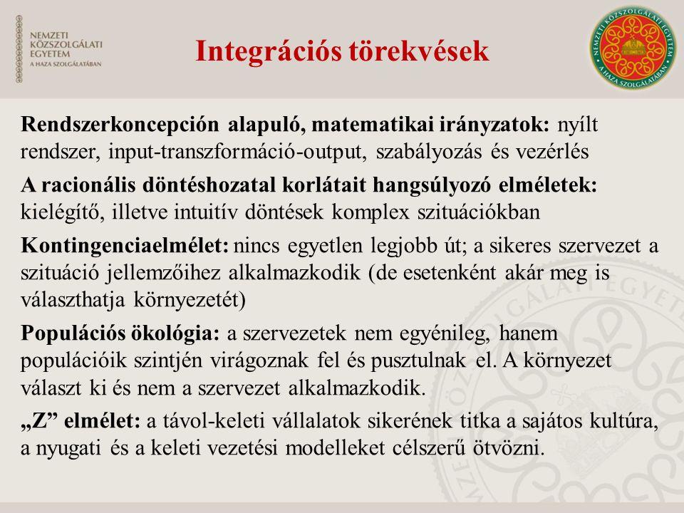 Integrációs törekvések Rendszerkoncepción alapuló, matematikai irányzatok: nyílt rendszer, input-transzformáció-output, szabályozás és vezérlés A raci