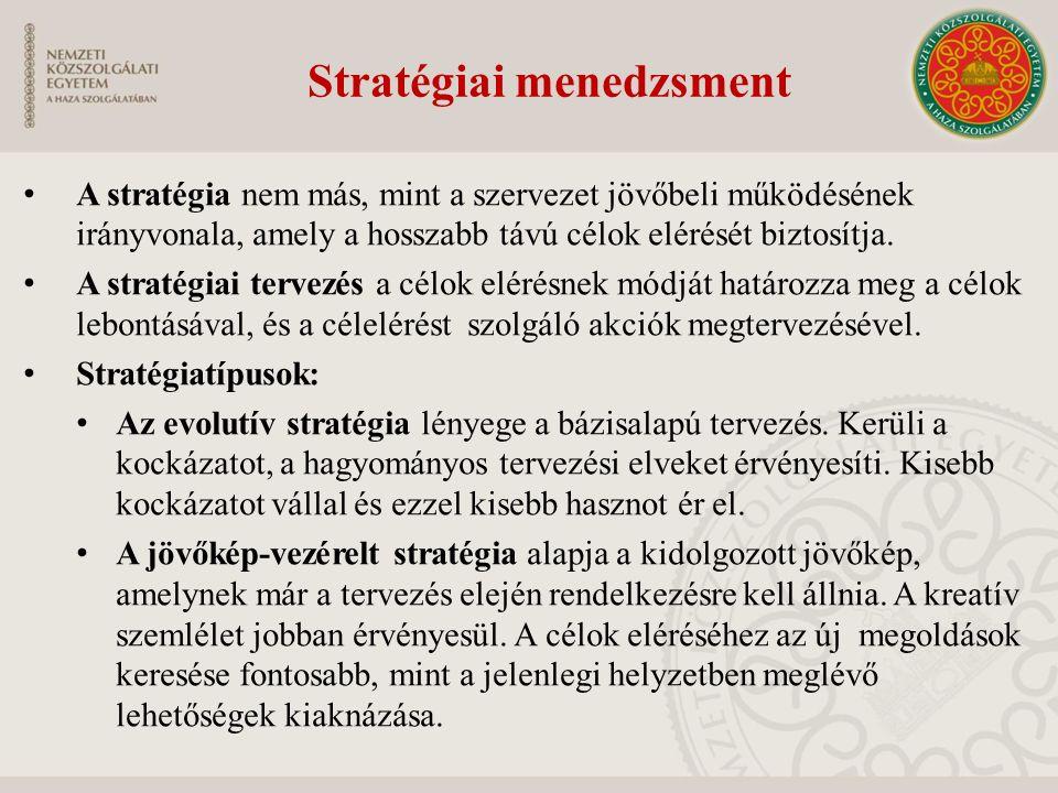 Stratégiai menedzsment A stratégia nem más, mint a szervezet jövőbeli működésének irányvonala, amely a hosszabb távú célok elérését biztosítja. A stra